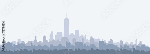 New York Morning City Skyline - vector