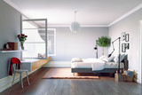 Modern bedroom interior - 175797919