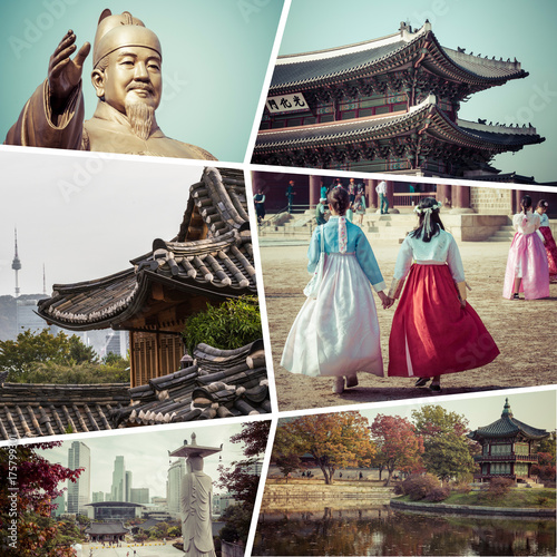 Tuinposter Seoel Collage of South Korea - Seoul images - travel background (my photos)