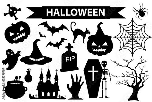 Happy Halloween icons set, black silhouette style. Isolated on white background. Halloween collection of design elements with pumpkin, spider, zombie, skull, coffin, bat. Vector illustration