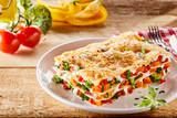 Colorful appetizer of Italian vegetable lasagna