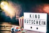 Cinema movie theme with popcorn and kino gutschein