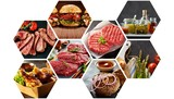 Hexagonal collage of assorted barbecue foods