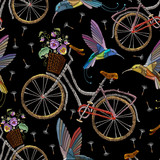 Embroidery bicycle violets flowers and humming birds seamless pattern. Fashionable summer pattern embroidery bicycle humming bird and violets romantic art, template clothes - 175804386