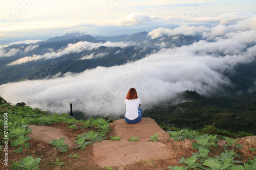 beautiful blue sky and fog cloud view mountain landscape natural outdoor background