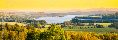 Fotobehang Meloen Autumn landscape at Lipno water reservoir, Sumava National Park, Southern Bohemia, Czech Republic.