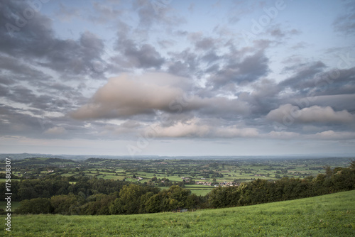 Beautiful dawn landscape over Somerset Levels in English countryside
