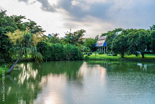 Natural Pavilion landmark of Suan Luang Rama IX Public Park, Bangkok, Thailand Poster