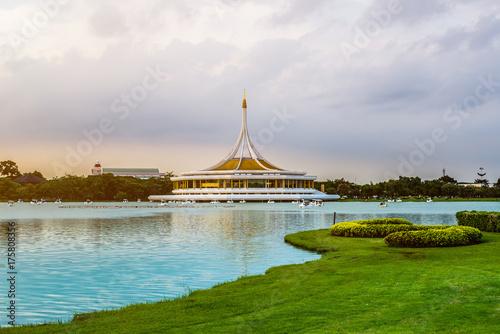 Twilight Pavilion landmark of Suan Luang Rama IX Public Park, Bangkok, Thailand Poster