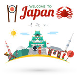 Flat design, Welcome to Japan icons and landmarks, vector - 175808774