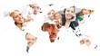 Weltkarte der Erde mit Gesichtern vieler lächelnder Leute