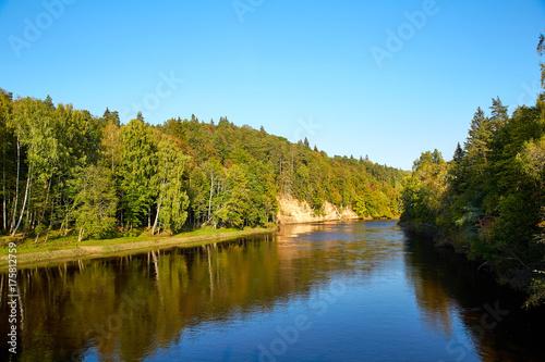 Fotobehang Zomer River Gauja, Latvia