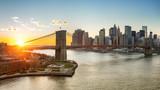 Panoramic view of Brooklyn bridge and Manhattan at sunset, New York City - 175819920