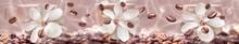 "Постер, картина, фотообои ""coffee beans on the floral background"""