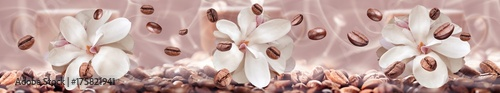 Staande foto Panoramafoto s coffee beans on the floral background