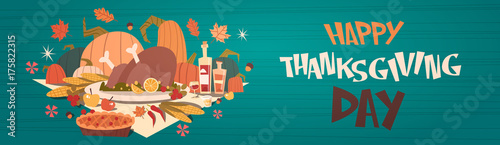 Happy Thanksgiving Day Autumn Traditional Harvest Holiday Greeting Card Flat Vector Illustration - 175822315