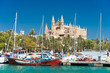 Leinwanddruck Bild - View of Palma de Mallorca with Cathedral La Seu and the fishing port - 9325
