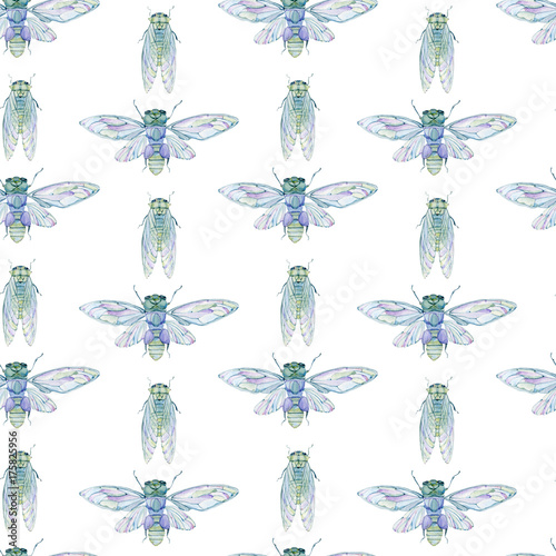 Cotton fabric Watercolor seamless pattern with cicada.