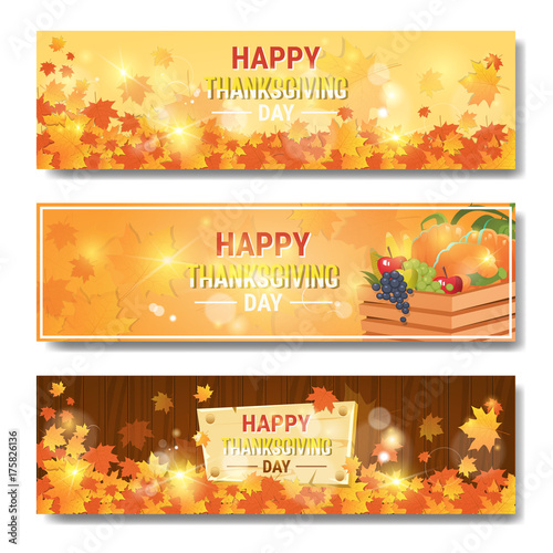 Fridge magnet Happy Thanksgiving Day Autumn Traditional Holiday Horizontal Banners Set Flat Vector Illustration