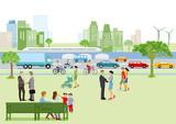 Stadtansicht mit Fußgänger und Verkehr