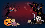 Halloween background,spooky many character of ghost - 175831907