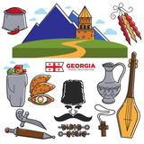 Georgia travel and tourism famous Georgian culture landmarks sightseeing vector icons - 175832789