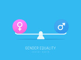 Scales balancin with male and female gender symbols vector illustration - 175834342