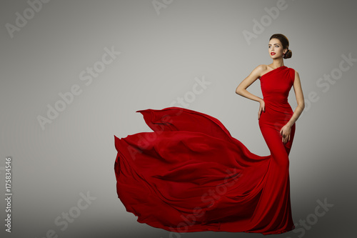 Plakát Fashion Model in Red Beauty Dress, Sexy Woman posing evening Gown, Flying Silk T