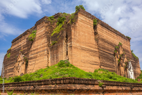 Ruined Mingun pagoda  in Mingun paya Temple, Mandalay, Myanmar Poster