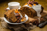 Carrot cake with autumn decorations - 175835918