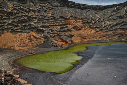 Tuinposter Canarische Eilanden El Golfo, the Green Lagoon, Volcanic scenery and landscape in Lanzarote, Canary islands