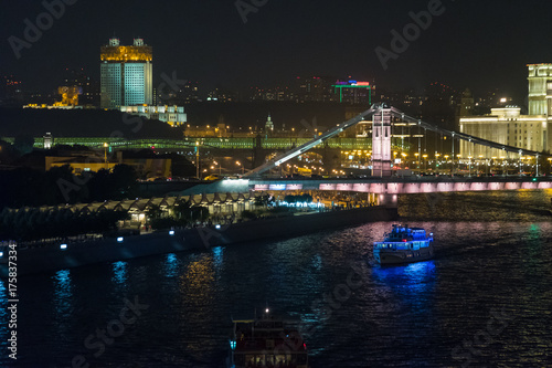 Aluminium Moskou Illuminated Moscow cityscape at night landscape
