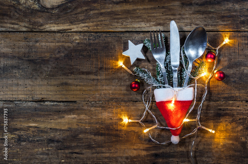 Christmas table place setting - 175837793