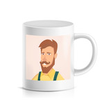 Custom Mug With Print Vector. Printed Face. Photo Mug Printing Template Isolated Illustration - 175838338