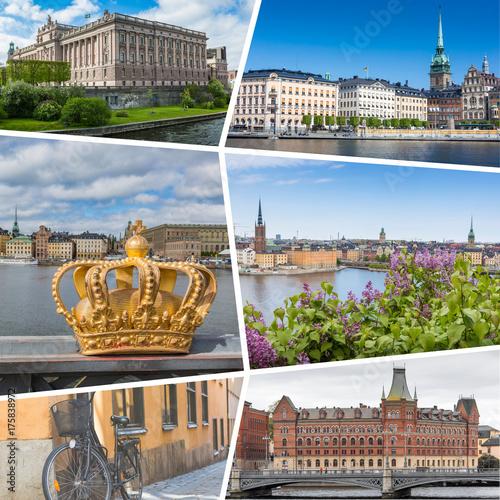 Staande foto Stockholm Collage of Stocholm Sweden images - travel background (my photos)