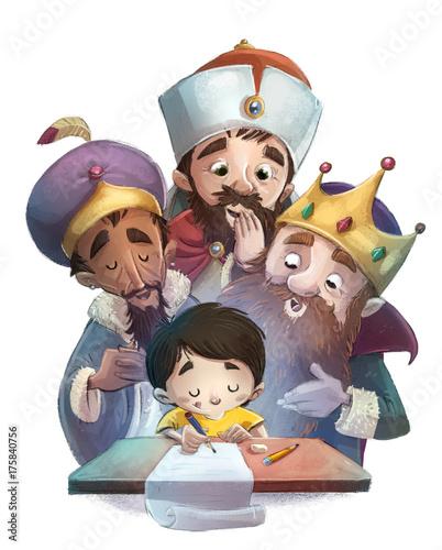 niño escribiendo una carta a los reyes magos