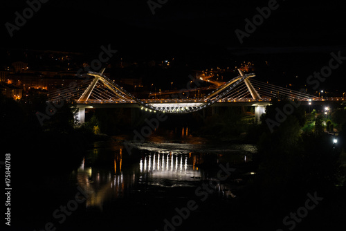 Ponte do Milenio bridge in Ourense at night