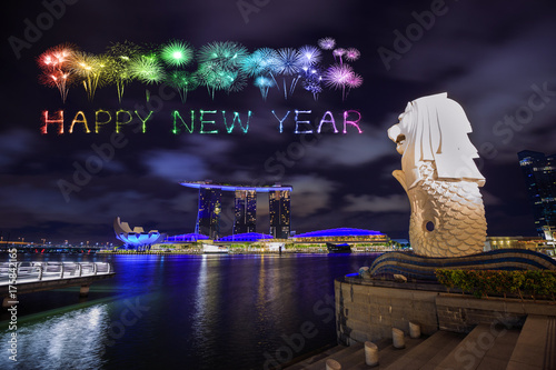 Happy new year firework Sparkle with Merlion park in Singapore city Poster