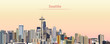 vector illustration of Seattle city skyline at sunrise - 175842359