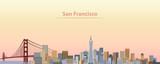vector illustration of San Francisco city skyline at sunrise