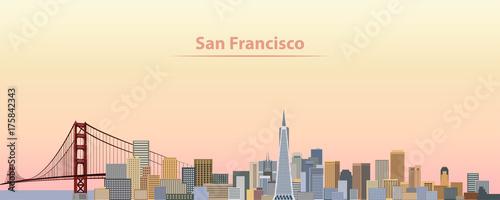 vector illustration of San Francisco city skyline at sunrise - 175842343