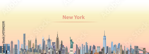 vector illustration of New York city skyline at sunrise