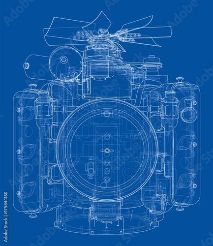 Fridge magnet Engine sketch. Vector