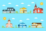 Neighborhood with homes and churches illustrated on the blue background. - 175844748