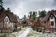 Fachwerk houses in snowy weather