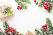 Christmas and New Year holiday background. Xmas greeting card. Snow effect. Flat lay
