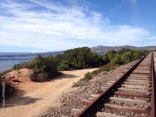 seaside railway in sardinia, italy