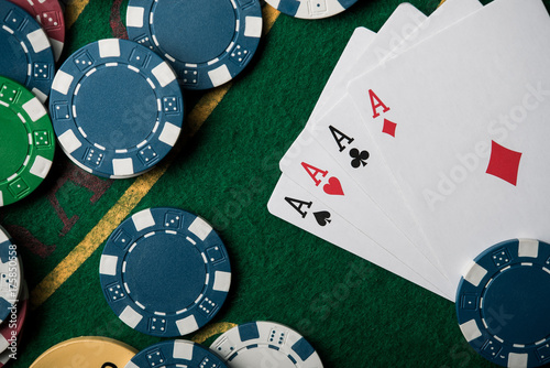 Plakat four ace in poker game