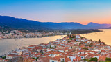 Sunset on Poros island in Aegean sea, Greece - 175854567