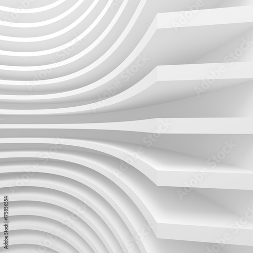 Abstract Architecture Background. 3d Illustration of White Circular Building - 175856554